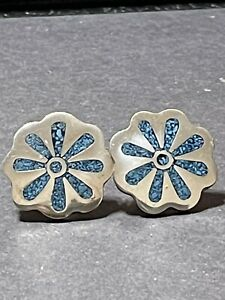 TAXCO-Sterling-Silver-amp-Turqoise-Inlay-Earrings-12g-1-Wide