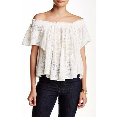 NWT Free People Thrills & Frills Knit Top Off The Shoulder Blouse Shirt Ivory