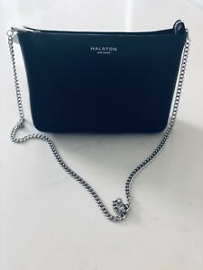 8932e2feab Image is loading Halston-Heritage-Black-Leather-chain-shoulder-bag-NWT
