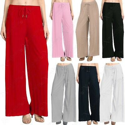 Symbol Der Marke New Ladies Womens Pleated Palazzo Trousers Flare Long Leg Trouser Crepe Pants Rabatte Verkauf