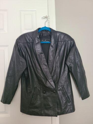 Women's Black Leather Jacket Size 4 Made in Korea