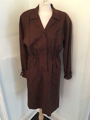 Vintage 80's Karl Lagerfeld Germany Brown Long Sleeve Wool Dress Sz 6 EUC