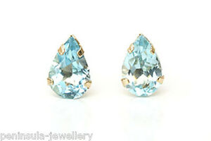 9ct-Gold-Blue-Topaz-studs-Teardrop-earrings-Gift-Boxed-Made-in-UK