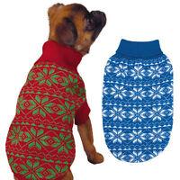 Holiday Snowflake Dog Sweater Pet Winter Red Green Blue Pet Christmas Hanukkah