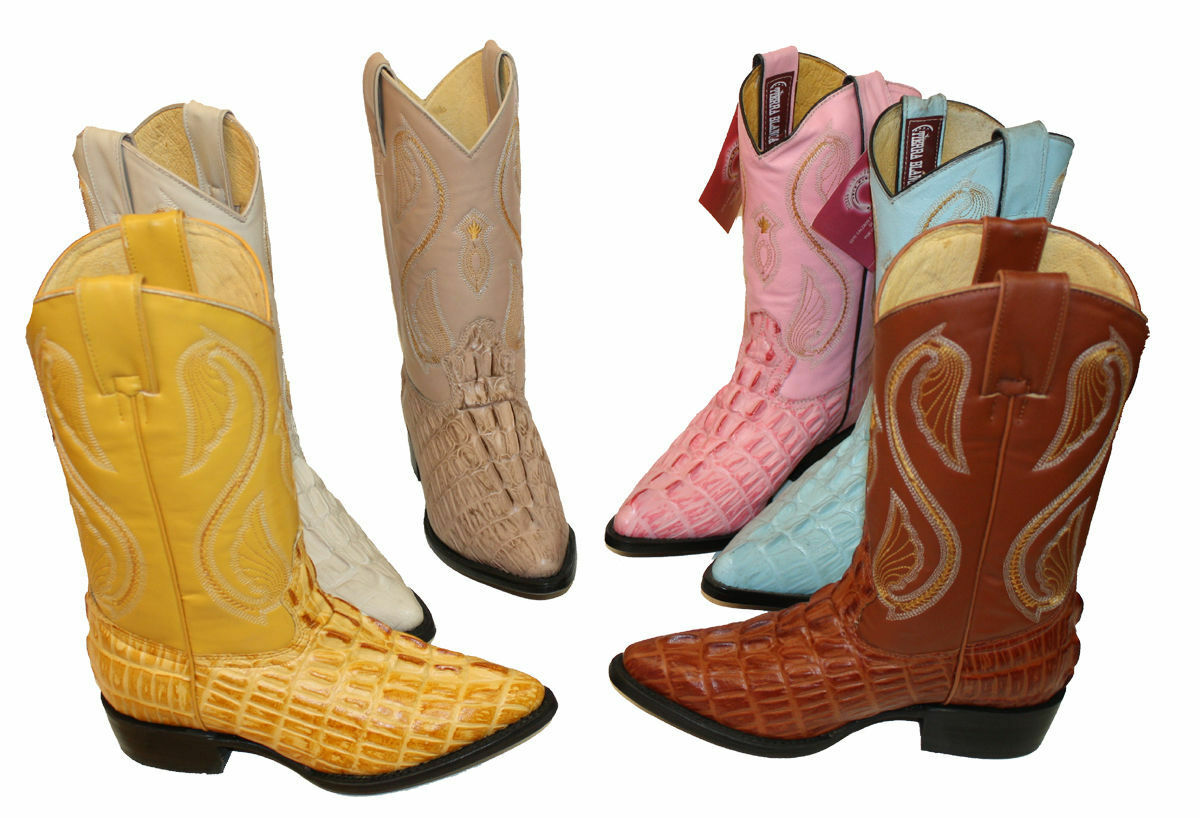 Wouomo Cowgirl Crocodile Embossed Print Genuine Cow Hide Leather Western stivali