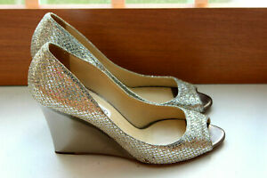 Jimmy Choo Baxen Metallic Glitter Peep Toe Pumps Size EUR 40 UK 6.5