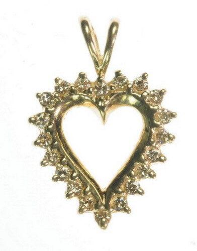 Ladies 10K Yellow gold Diamond Heart Anniversary Estate Pendant J226313