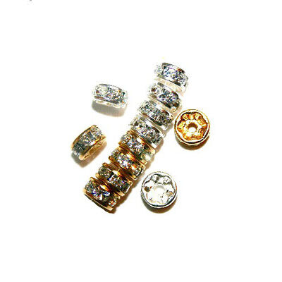 RHINESTONE RONDELLES JEWELRY CRYSTAL SPACER BEAD GOLD COLOR 4MM 24 BEADS RC3