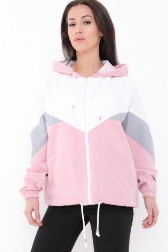 Colour Block Festival Jacket Bomber Contrast Hooded WindBreaker Coat Cute Womens