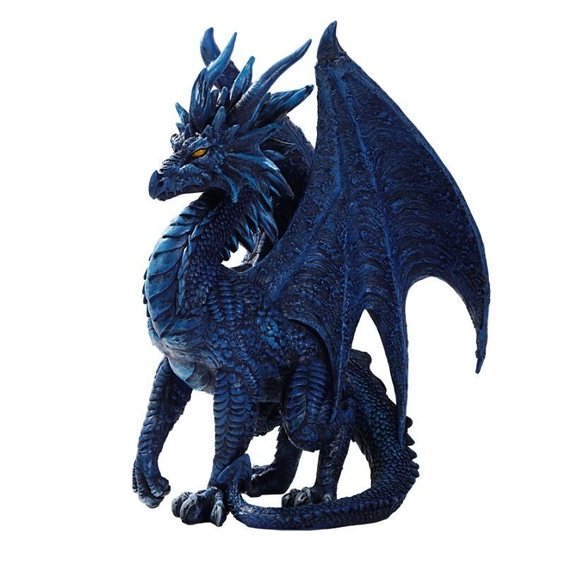 Fantasy Medieval Winged bluee Standing Dragon Figurines 8 inches Tall