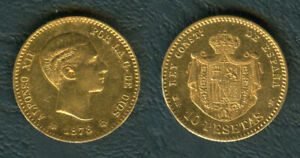 1878-SPAIN-10-Pesetas-King-ALFONSO-XII-REY-CONSTL-DE-ESPANA-Gold-Coin-AU