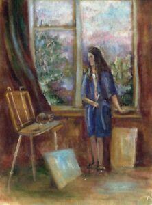 Russischer-Realist-Expressionist-Ol-Leinwand-034-Kuenstlerin-034-37-x-27-cm