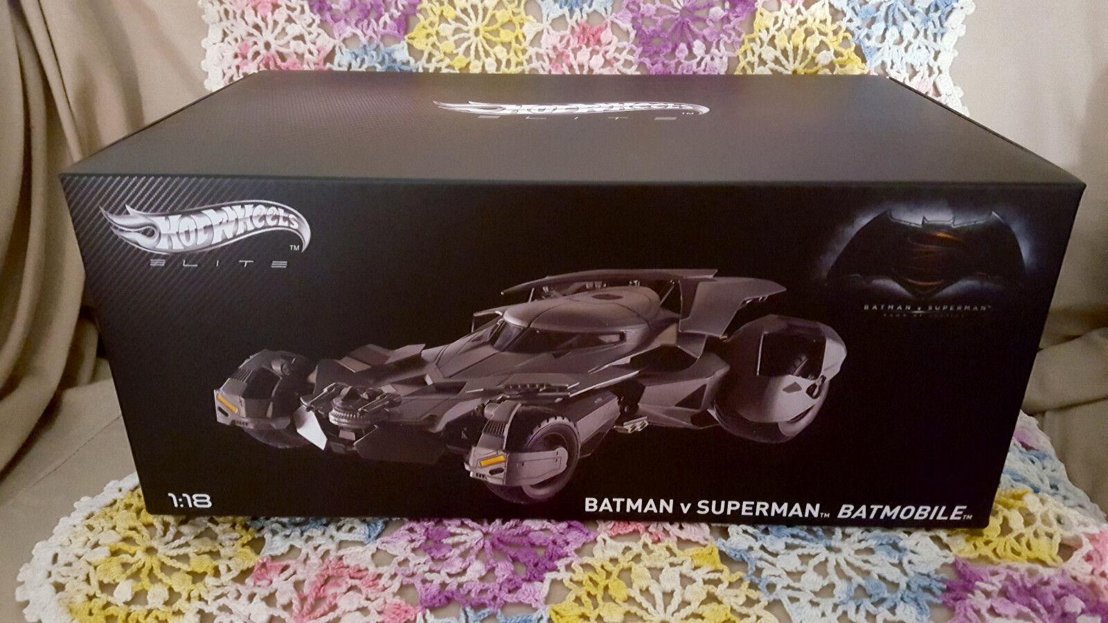 Batman v Superman Batmobile 1 18 Scale Hot Wheels Elite Die-Cast Vehicle - NEW
