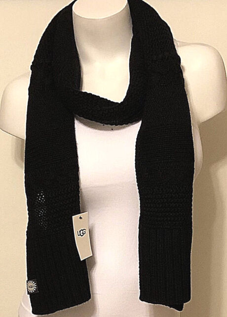 NWT WOMEN'S UGG AUSTRALIA BLACK KNIT WOOL SCARF 18380 ONE SIZE MSRP $95.00