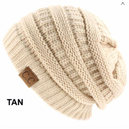 Men Women Plain CC Beanie Cap Slouch Bubble Knit Winter Ski Gift Oversize Hat