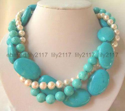 3 rangées 7-8 mm Blanc Naturel Perle /& Turquoise Bijoux Colliers environ 45.72 cm 18 in