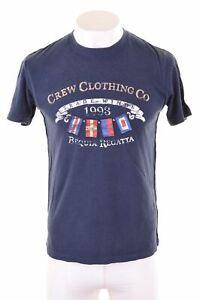 Crew-Clothing-grafico-de-hombre-T-Shirt-Top-Algodon-Pequeno-Azul-Marino-JP01
