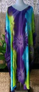 Plus-Size-Long-Purple-Blue-Green-Tie-Dye-Maxi-Kaftan-Dress-Size-20-22-24-26