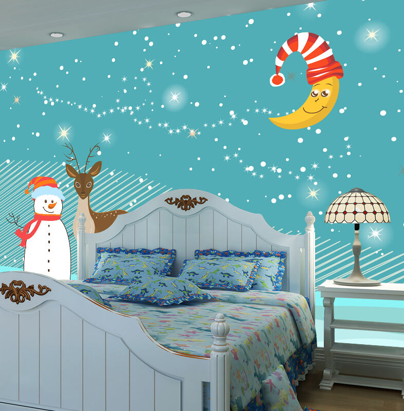 3D Christmas Moon, reindeer  WallPaper Murals Wall Print Decal Wall AJ WALLPAPER