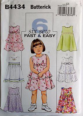 Butterick Sewing Pattern 4434 Girls Sleeveless Dress Sz 4-6