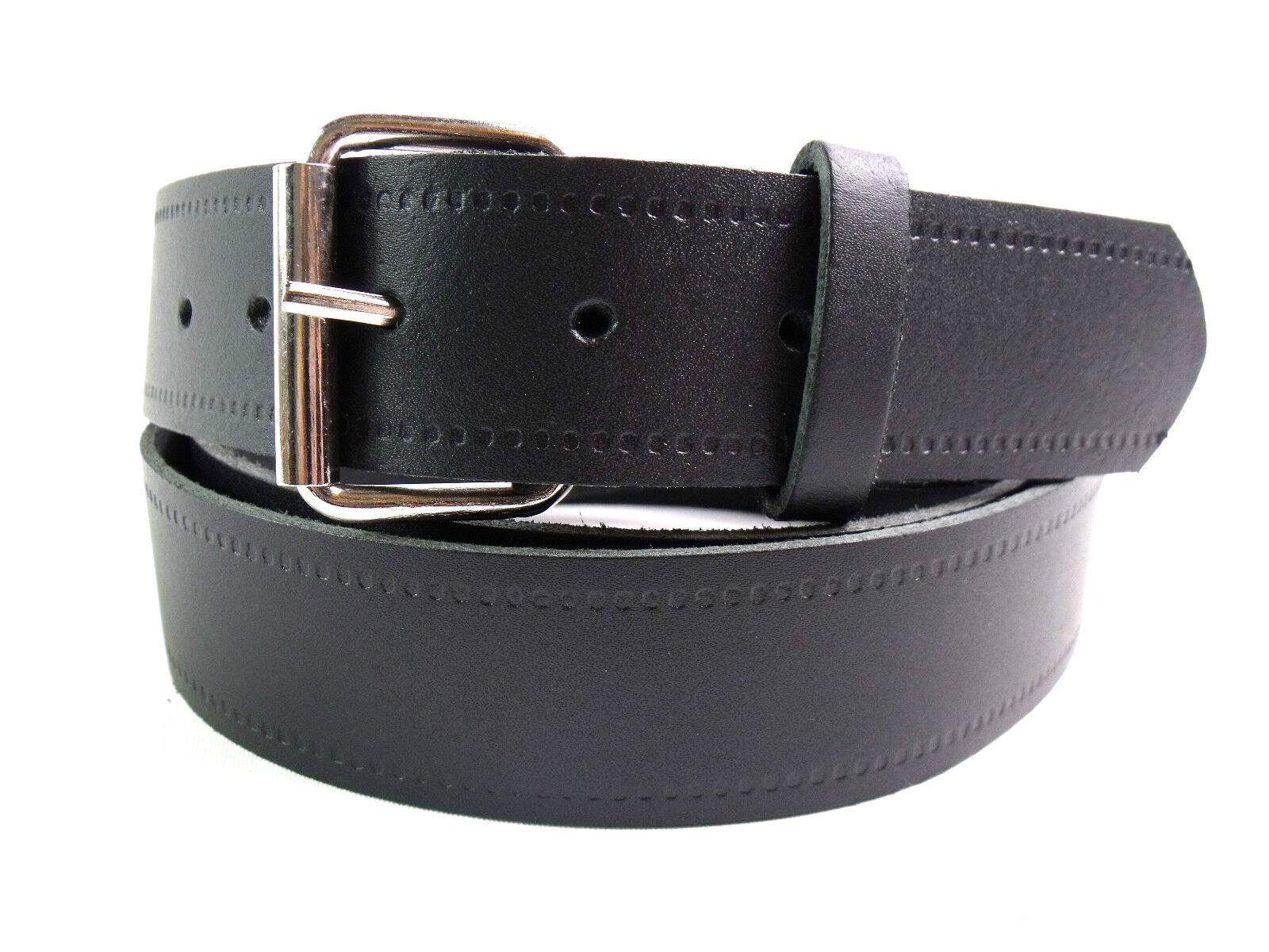 Herren Echt Schwarz Ledergürtel Metallschnalle 3 Breite Größe bis Zu 5XL Made IN