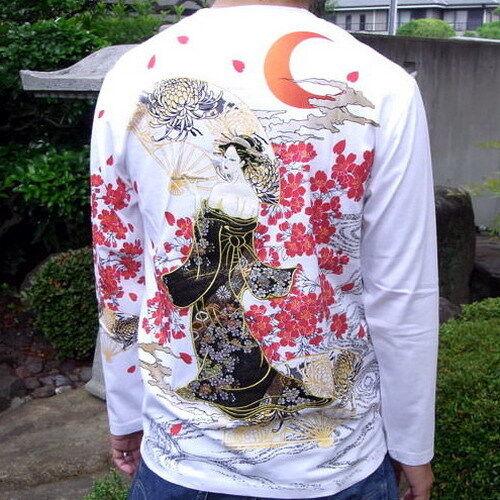 T-shirt homme à manches longues broderie Japonais Motif sukajan Ukiyo-e courtisane