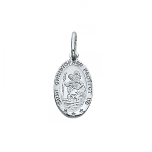 St Necklace Charm 14K Solid White Gold Saint Christopher Oval Medal Pendant