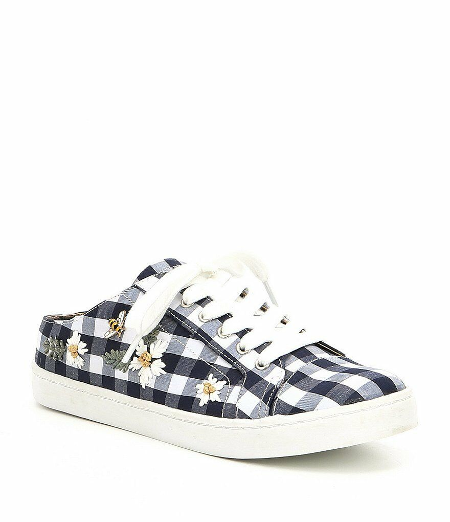 Betsey Johnson Edna Slip-on Gingham baskets Daisy Bee chaussures Navy Taille US 7