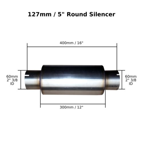 """Bore 5/"""" x 12/"""" Clamp On Stainless Steel Silencer Exhaust Box Body 60mm 2/"""" 3//8"""