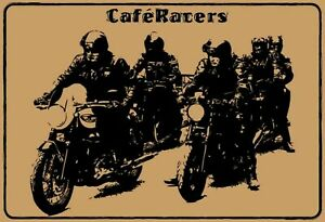Coffee Racers Biker Tin Sign Shield Arched Metal Tin Sign 20 X 30 CM FA0188