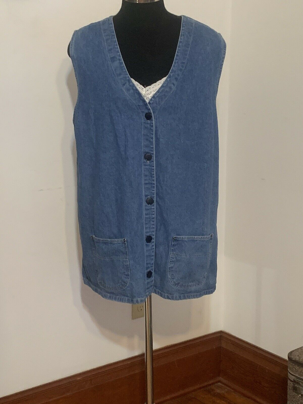 Vtg 80s 90s Denim Apron Jumper Overall Jean Mini … - image 1