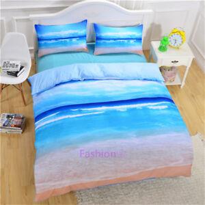 Single/Double/Queen/King Size Bed Quilt/Doona/Duvet Cover Set Blue Sea Beach
