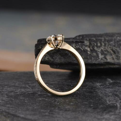 Details about  /D//VVS1 1.00 Ct Round Cut White Moissanite Engagement Ring 14K Yellow Gold Plated