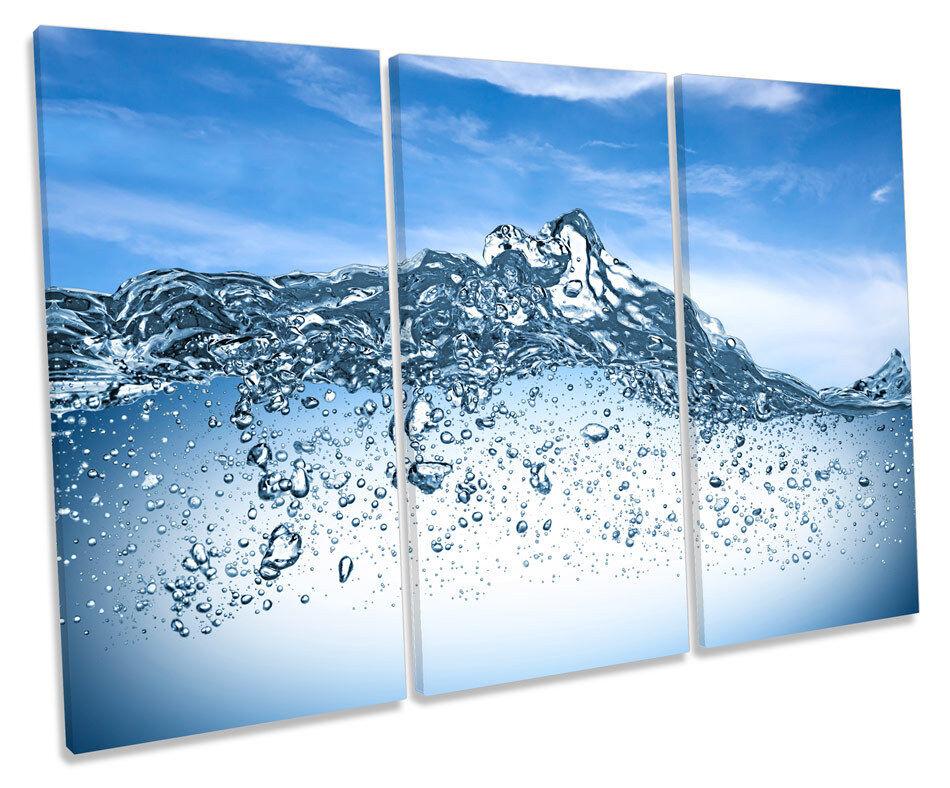Bathroom Blau Water CANVAS WALL ART TREBLE Box Frame Print