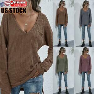 Women-039-s-Long-Sleeve-Knitted-Sweater-Ladies-Casual-Loose-V-Neck-Pullover-Jumper