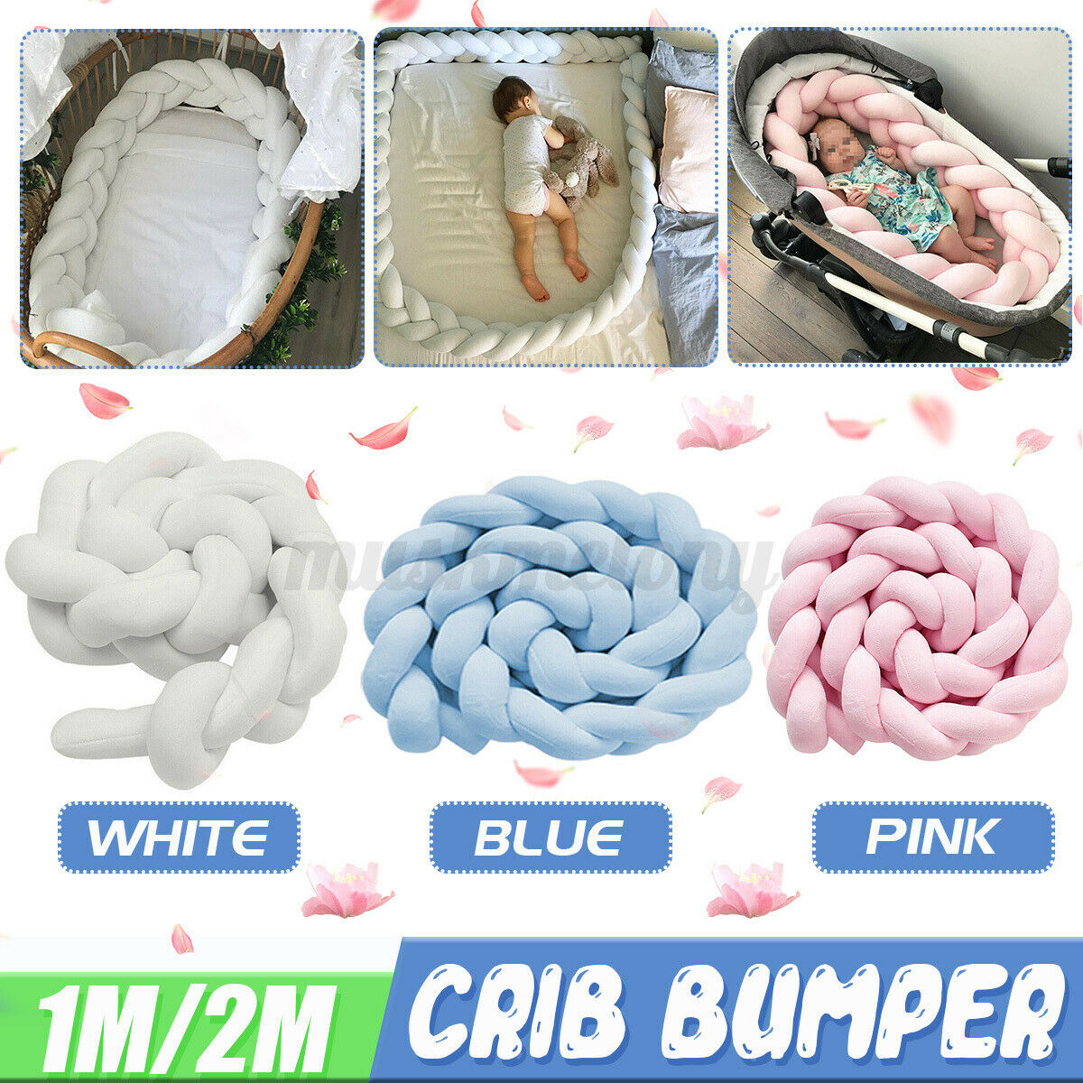 Soft Baby Crib Protector Crib Pillow Cushion Infant Soft Pad Braided Crib Protection Newborn Gift Bed Snake Braided Protector for Crib Cot Cradle Decor,39in 1M