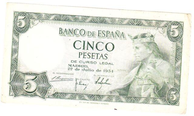 billet de 5 pesetas de espagne anné 1954 état occasion voir photo