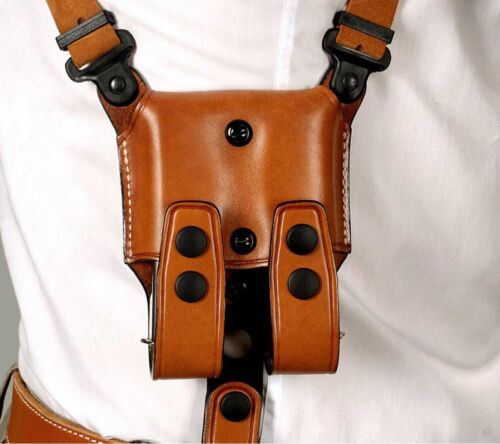 Beretta 90 Two #3070# Leather Horizontal Shoulder Holster Double Mag Case fits