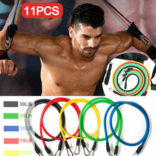 Resistance Bands Set of 11PCS Workout Exercise Yoga Crossfit Fitness Tubes