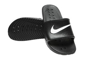 new styles 1ef96 aabf2 Image is loading New-Nike-Kawa-Shower-832528-001-Black-Slippers-