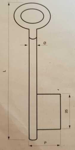 Stahlschlüssel Vollbart gerader Bart Buntbart Ø6mm gebohrt