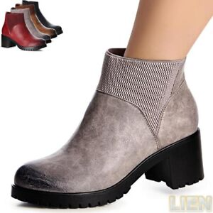 Damenschuhe-Plateau-Boots-Ankle-Boots-Stiefeletten-Stiefel-Halbstiefel-Booties