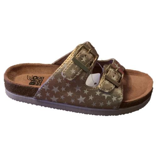 Childrens Kids Bio Rocks Summer Star Slip On Sandals Buckle Mules Gold UK 10-2