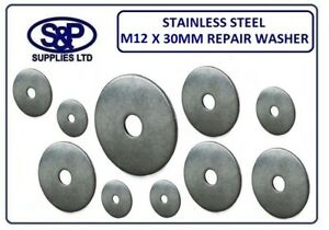 12MM-x-30MM-STAINLESS-STEEL-REPAIR-WASHER-PENNY-WASHERS-WITH-12mm-HOLE-BORE