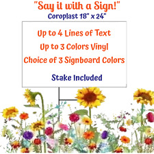 One Custom 18 X 24 Personalized Coroplast Single Sided Yard Sign Withstake
