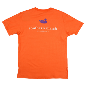 Southern-Marsh-Authentic-Collegiate-Orange-w-Purple-Small-T-Shirt-Short-Sleeve