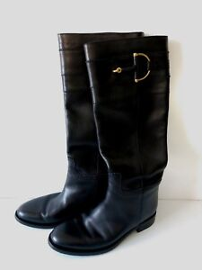 d9fa283e7 GUCCI Class Black Leather Horsebit Tall Knee High Pull On Flat Boots ...