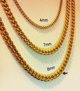 s link stainless gold necklace is plated itm loading image chain mens cuban steel