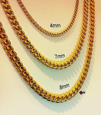 "18""-30"" Men's Stainless Steel 4mm-8mm 24K Gold Plated Cuban Link Chain Necklace"