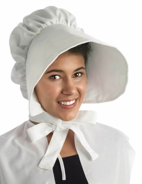 White Bonnet Hat Costume Accessory One Size NEW Pioneer Colonial Pilgrim e607a463480
